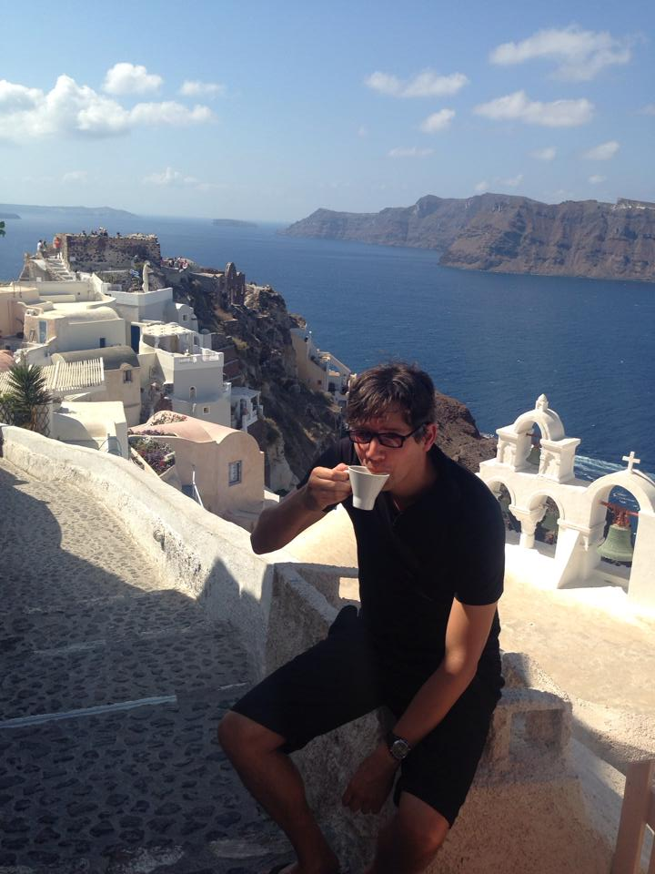 Cafe view in Oia had JCrew in disbelief and bliss.