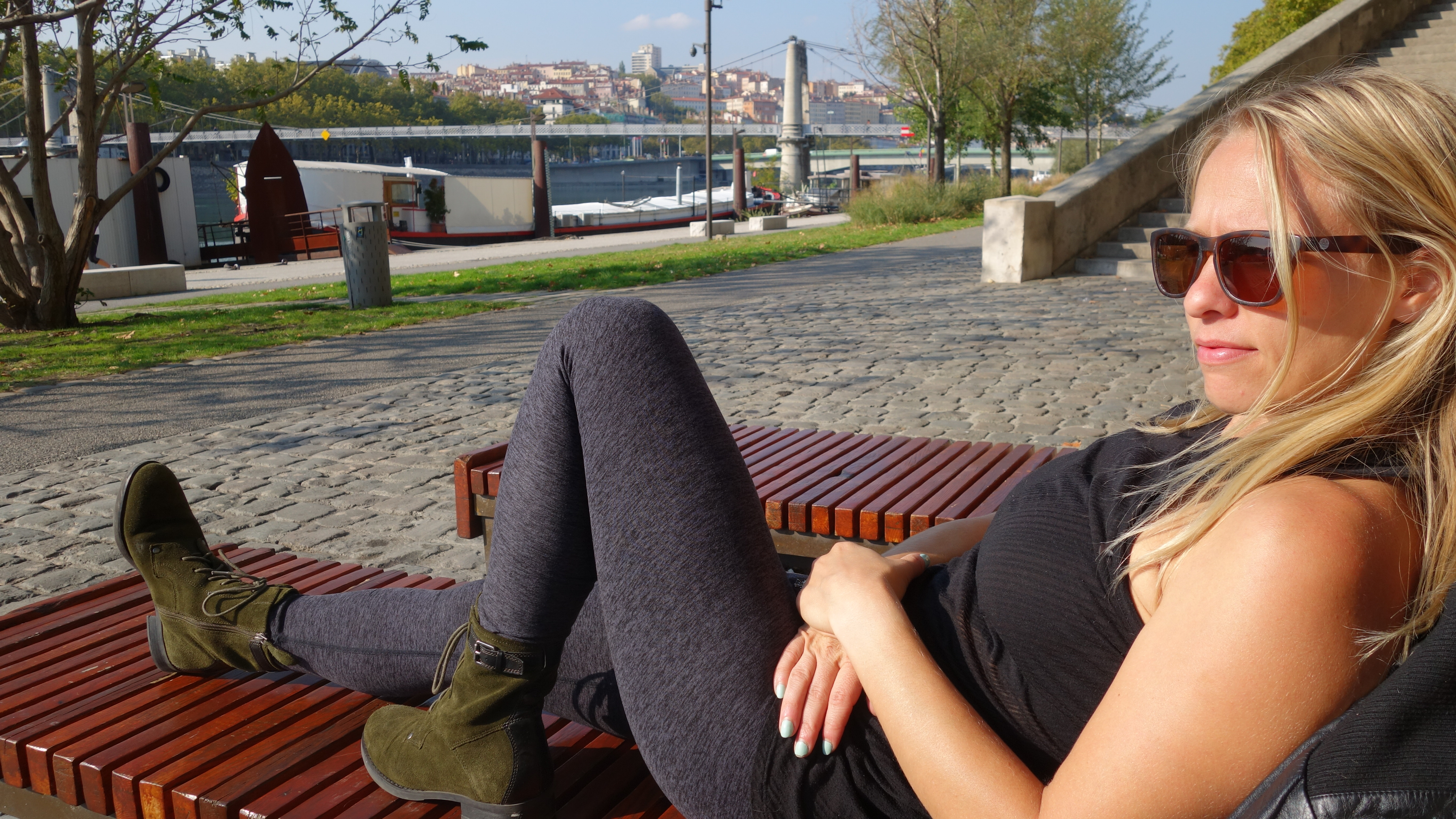 Chilling by the Saone River after a filling, deliciously fatty lunch.