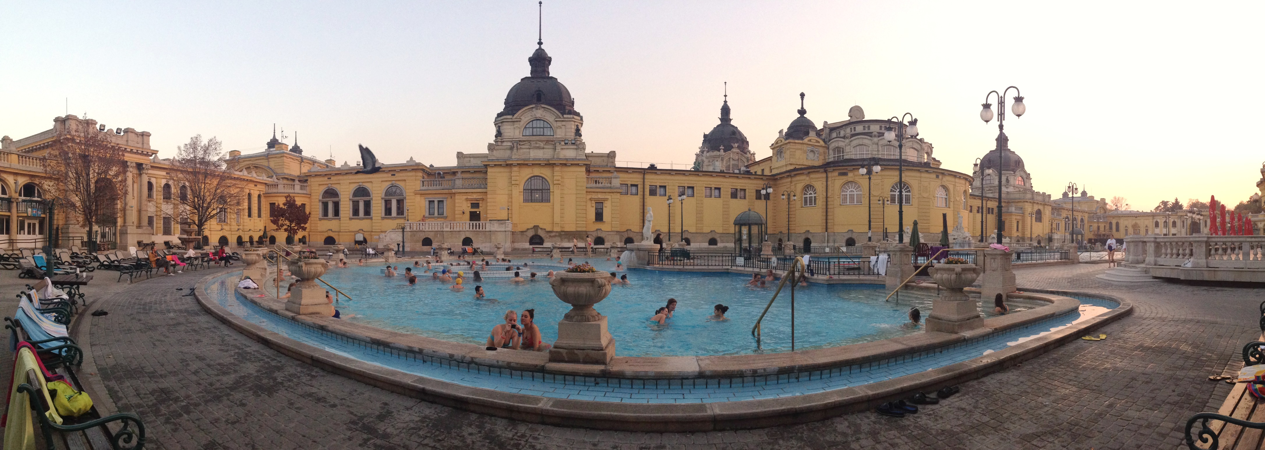 One of three outdoor pools at Szechenyi Thermal Baths